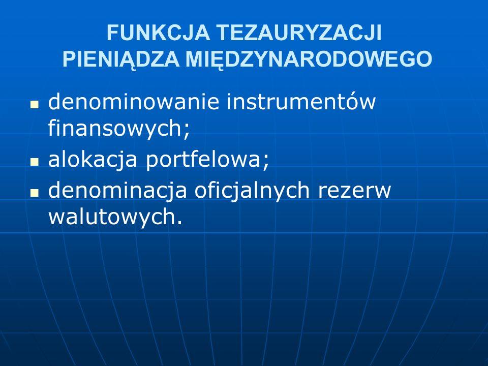 FUNKCJA TEZAURYZACJI PIENIĄDZA MIĘDZYNARODOWEGO denominowanie instrumentów finansowych; alokacja portfelowa; denominacja oficjalnych rezerw walutowych.