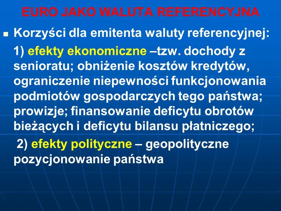 EURO JAKO WALUTA REFERENCYJNA Korzyści dla emitenta waluty referencyjnej: 1) efekty ekonomiczne –tzw.