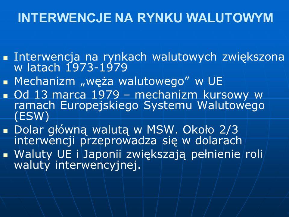"""INTERWENCJE NA RYNKU WALUTOWYM Interwencja na rynkach walutowych zwiększona w latach 1973-1979 Mechanizm """"węża walutowego w UE Od 13 marca 1979 – mechanizm kursowy w ramach Europejskiego Systemu Walutowego (ESW) Dolar główną walutą w MSW."""