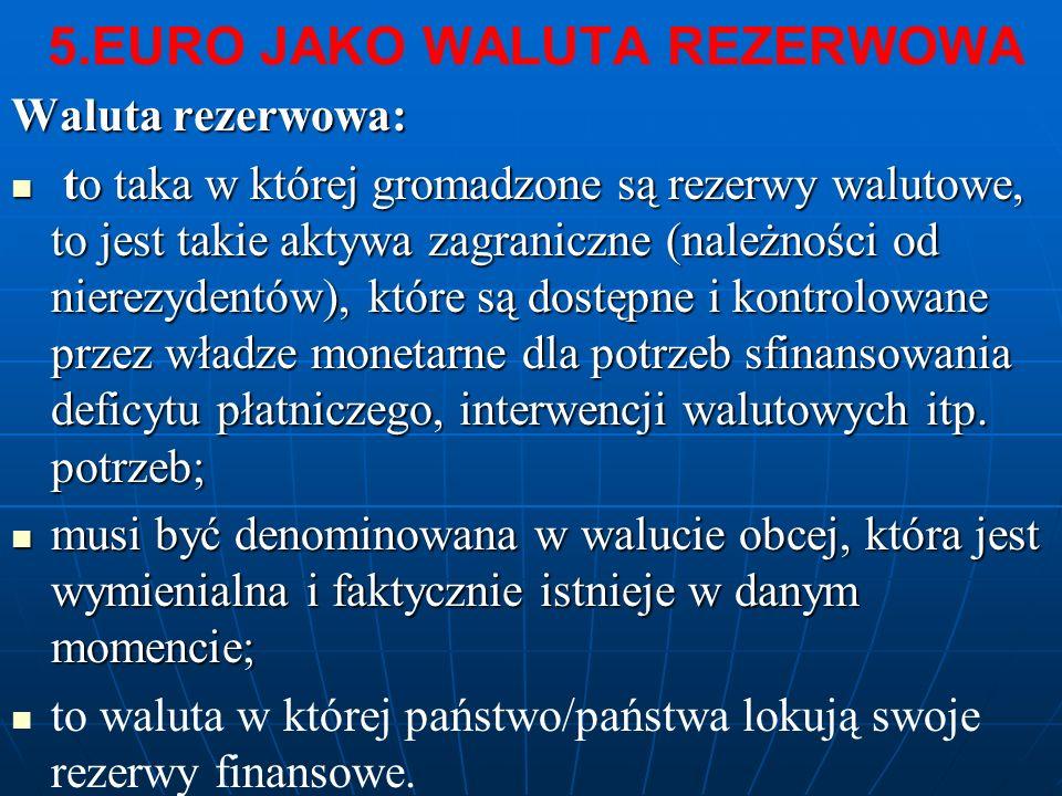 5.EURO JAKO WALUTA REZERWOWA Waluta rezerwowa: to taka w której gromadzone są rezerwy walutowe, to jest takie aktywa zagraniczne (należności od nierez