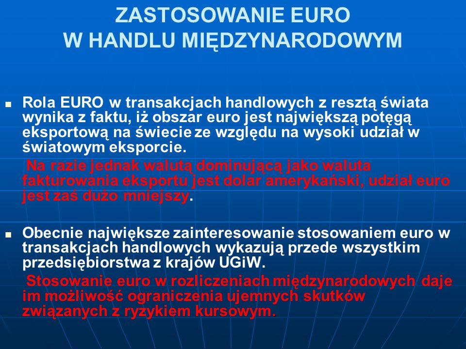 ZASTOSOWANIE EURO W HANDLU MIĘDZYNARODOWYM Rola EURO w transakcjach handlowych z resztą świata wynika z faktu, iż obszar euro jest największą potęgą eksportową na świecie ze względu na wysoki udział w światowym eksporcie.