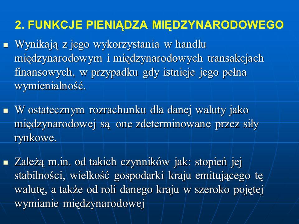 2.FUNKCJE PIENIĄDZA MIĘDZYNARODOWEGO ŚRODEK PŁATNICZY ŚRODEK GROMADZENIA BOGACTWA MIERNIK WARTOŚCI -DOBRO OBRACHUNKOWE -SPROWADZA WARTOŚCI WSZYSTKICH TOWARÓW I USŁUG DO WSPÓLNEGO MIANOWNIKA ŚRODEK WYMIANY