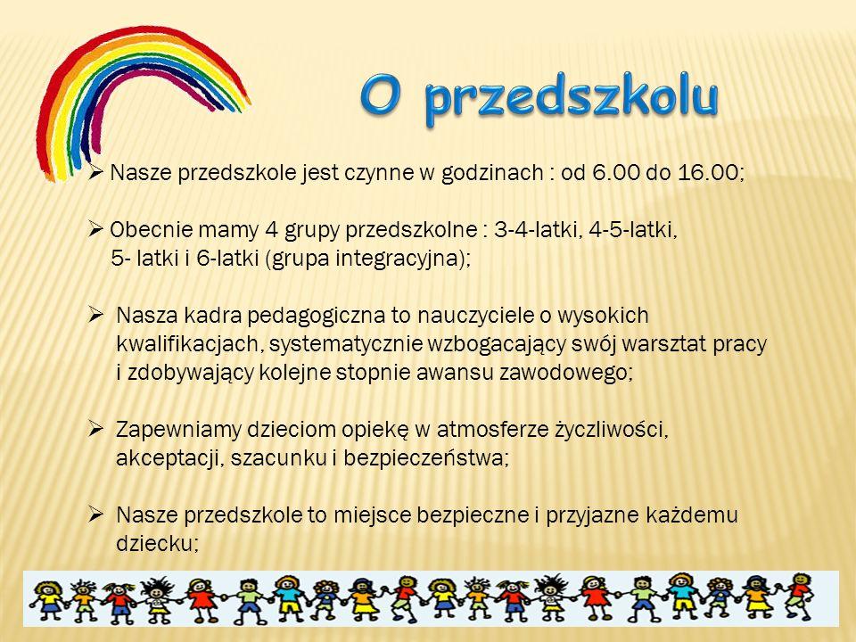  Nasze przedszkole jest czynne w godzinach : od 6.00 do 16.00;  Obecnie mamy 4 grupy przedszkolne : 3-4-latki, 4-5-latki, 5- latki i 6-latki (grupa
