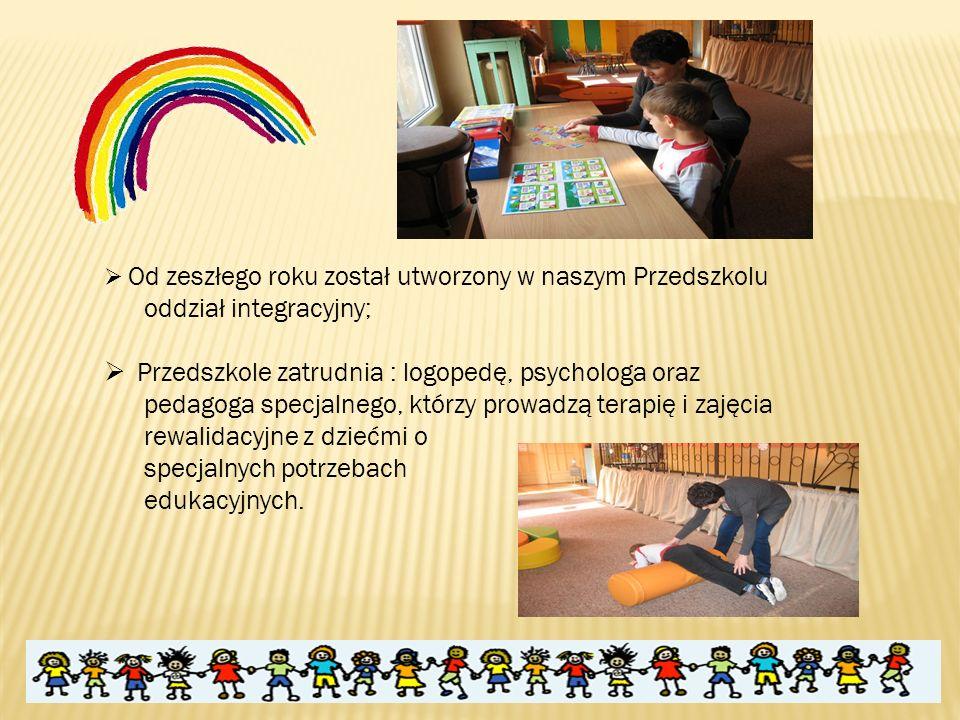  Od zeszłego roku został utworzony w naszym Przedszkolu oddział integracyjny;  Przedszkole zatrudnia : logopedę, psychologa oraz pedagoga specjalnego, którzy prowadzą terapię i zajęcia rewalidacyjne z dziećmi o specjalnych potrzebach edukacyjnych.