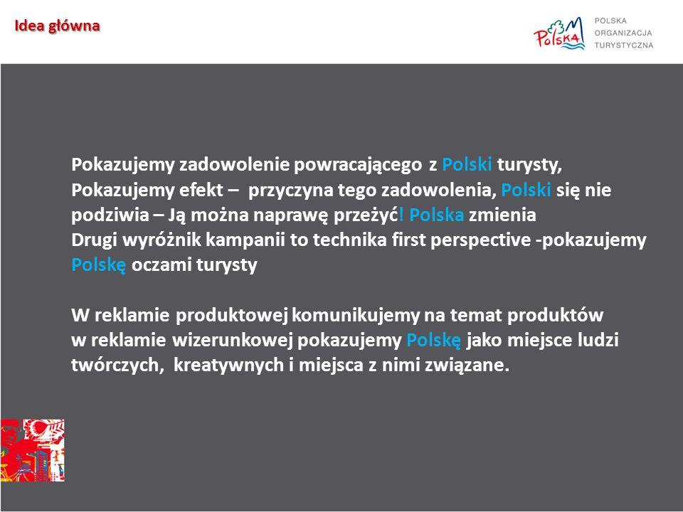 Idea główna Pokazujemy zadowolenie powracającego z Polski turysty, Pokazujemy efekt – przyczyna tego zadowolenia, Polski się nie podziwia – Ją można naprawę przeżyć.