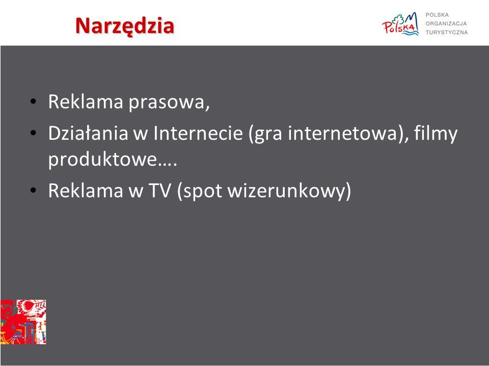 Narzędzia Reklama prasowa, Działania w Internecie (gra internetowa), filmy produktowe….