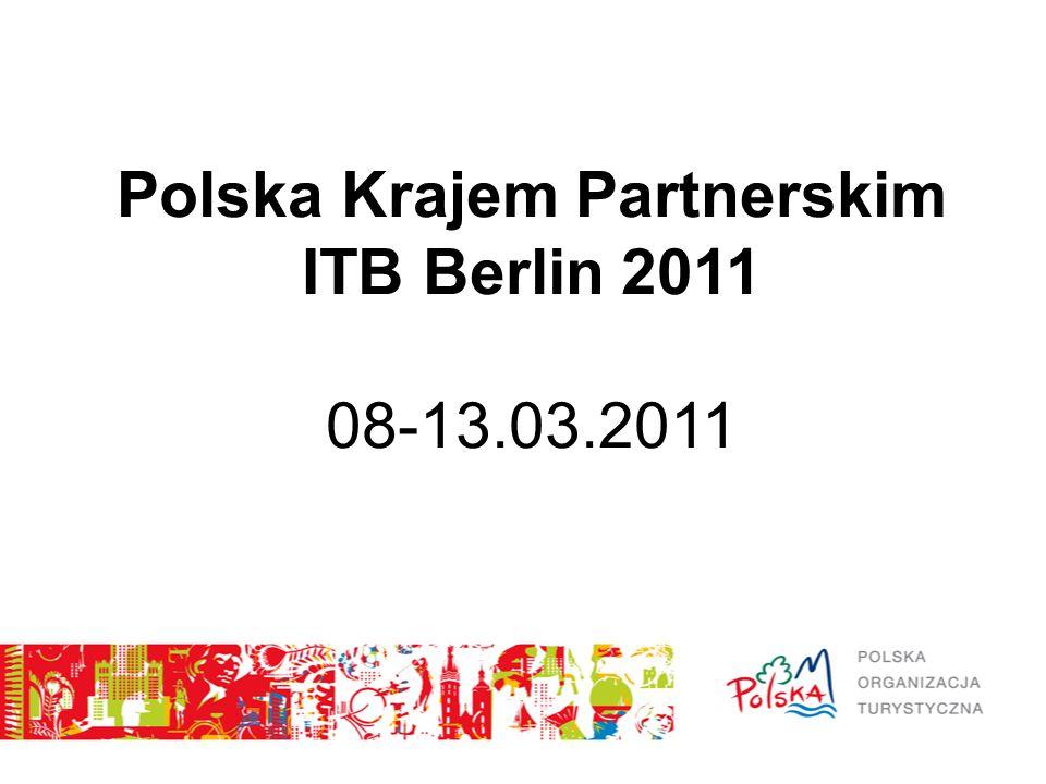 Targi ITB w liczbach - w targach uczestniczyło 11 000 wystawców z 188 krajów; - Polska od 45 lat jest obecna na targach; - po raz pierwszy była Głównym Partnerem ITB; - polskie stoisko narodowe wraz z ekspozycjami 16 regionów (w tym miast) oraz branży turystycznej miało 15 800 m2 (72 stoiska z polską ofertą); - oznaczenia Polski jako kraju partnerskiego, znalazły się w 752 miejscach na targach oraz w całym Berlinie (bilbordy, plakaty na głównym dworcu kolejowym, ulicy Unter Den Linden, Ambasadzie RP w Berlinie, wyświetlanie spotu reklamowego w metrze, stworki z kampanii realizowanej przez Platige Image na terenie miasta).