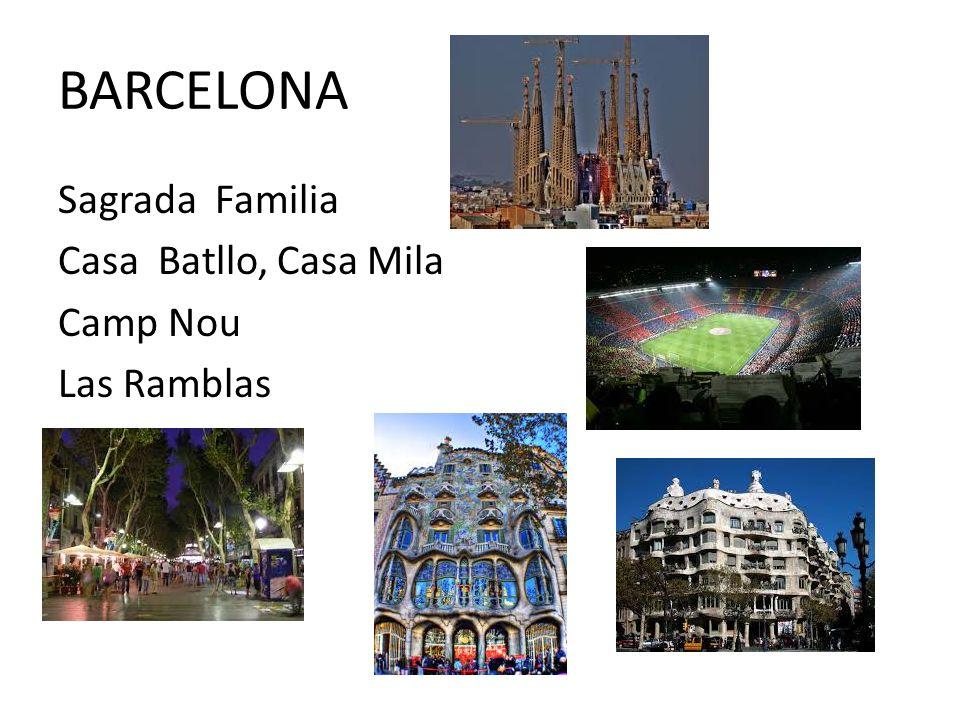 BARCELONA Sagrada Familia Casa Batllo, Casa Mila Camp Nou Las Ramblas