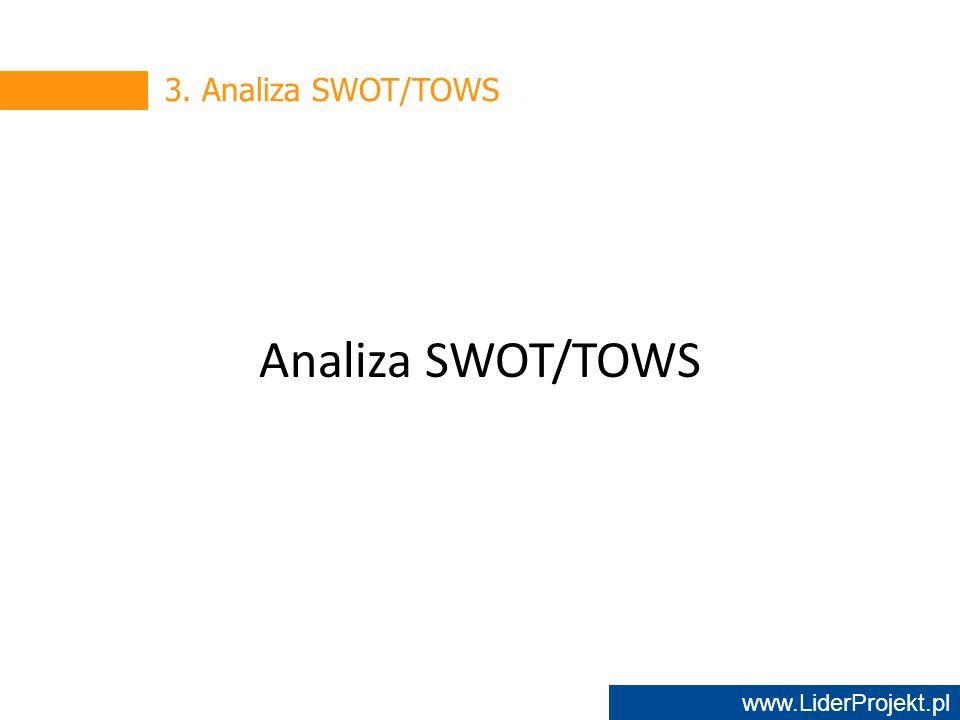 www.LiderProjekt.pl 3. Analiza SWOT/TOWS Analiza SWOT/TOWS