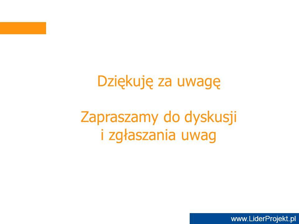 www.LiderProjekt.pl Dziękuję za uwagę Zapraszamy do dyskusji i zgłaszania uwag