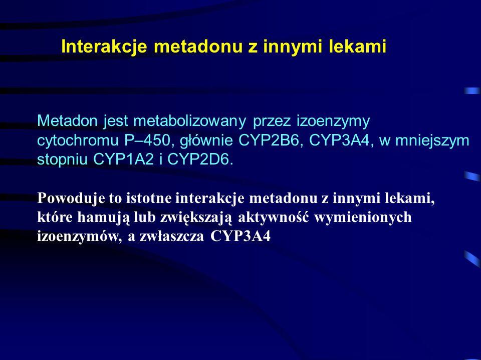 Interakcje metadonu z innymi lekami Metadon jest metabolizowany przez izoenzymy cytochromu P–450, głównie CYP2B6, CYP3A4, w mniejszym stopniu CYP1A2 i CYP2D6.