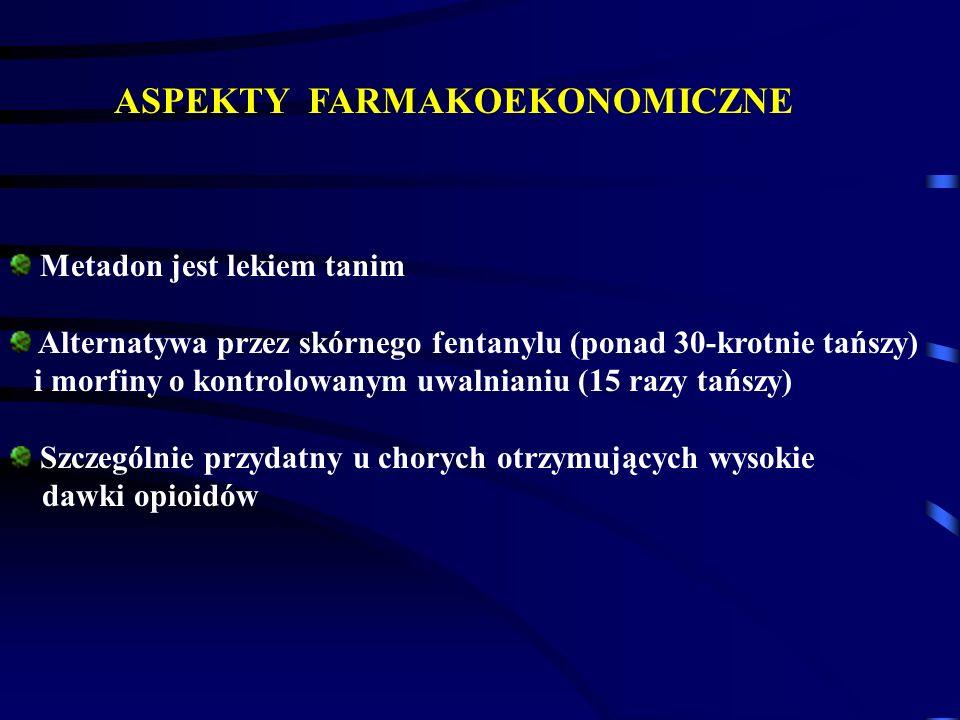 ASPEKTY FARMAKOEKONOMICZNE Metadon jest lekiem tanim Alternatywa przez skórnego fentanylu (ponad 30-krotnie tańszy) i morfiny o kontrolowanym uwalnian