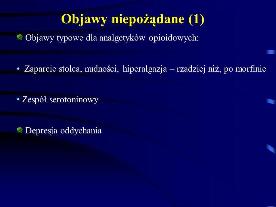 Objawy typowe dla analgetyków opioidowych: Zaparcie stolca, nudności, hiperalgazja – rzadziej niż, po morfinie Zespół serotoninowy Depresja oddychania