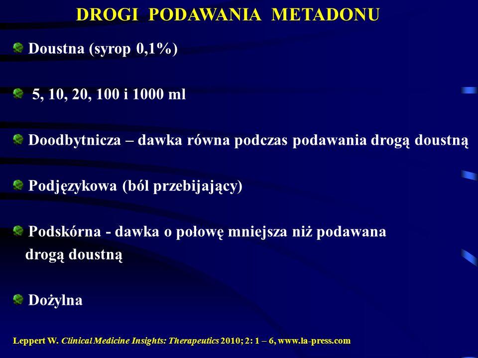 DROGI PODAWANIA METADONU Doustna (syrop 0,1%) 5, 10, 20, 100 i 1000 ml Doodbytnicza – dawka równa podczas podawania drogą doustną Podjęzykowa (ból przebijający) Podskórna - dawka o połowę mniejsza niż podawana drogą doustną Dożylna Leppert W.