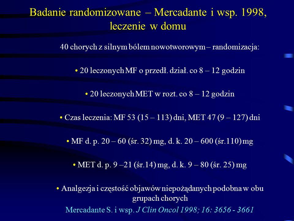 Badanie randomizowane – Mercadante i wsp. 1998, leczenie w domu 40 chorych z silnym bólem nowotworowym – randomizacja: 20 leczonych MF o przedł. dział