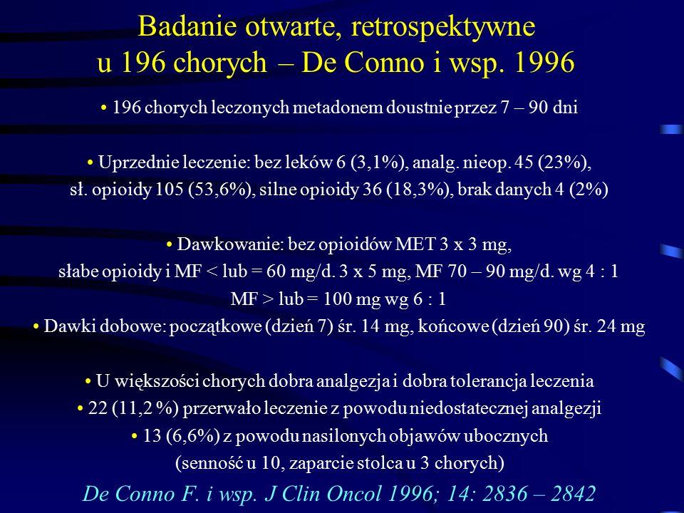 Badanie otwarte, retrospektywne u 196 chorych – De Conno i wsp. 1996 196 chorych leczonych metadonem doustnie przez 7 – 90 dni Uprzednie leczenie: bez