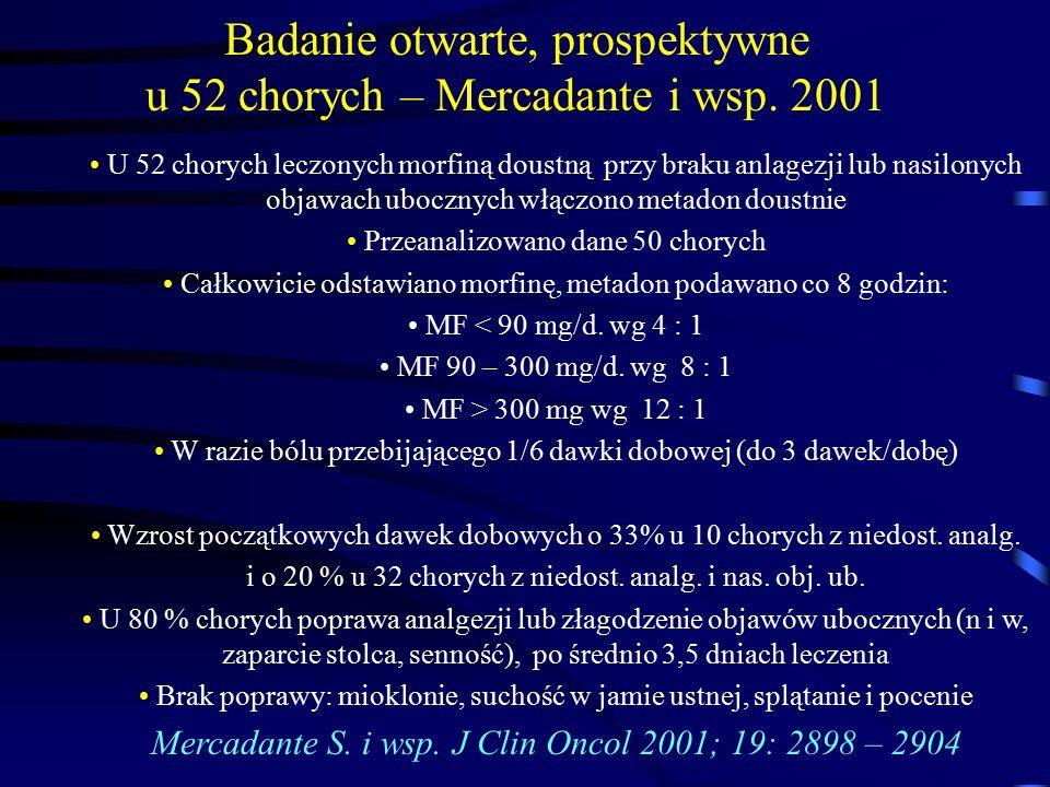 Badanie otwarte, prospektywne u 52 chorych – Mercadante i wsp. 2001 U 52 chorych leczonych morfiną doustną przy braku anlagezji lub nasilonych objawac