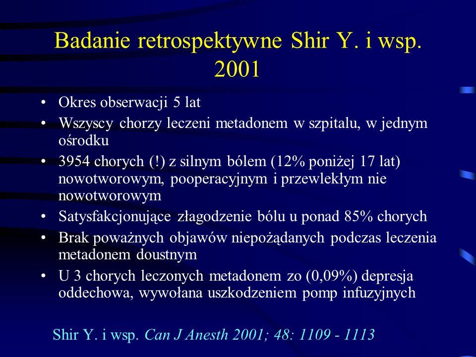 Badanie retrospektywne Shir Y. i wsp. 2001 Okres obserwacji 5 lat Wszyscy chorzy leczeni metadonem w szpitalu, w jednym ośrodku 3954 chorych (!) z sil