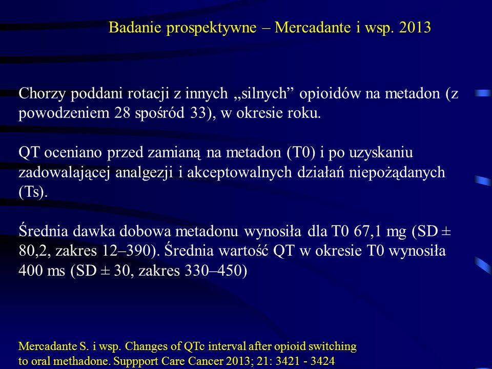 """Chorzy poddani rotacji z innych """"silnych"""" opioidów na metadon (z powodzeniem 28 spośród 33), w okresie roku. QT oceniano przed zamianą na metadon (T0)"""
