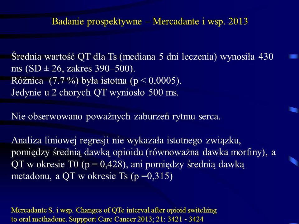 Średnia wartość QT dla Ts (mediana 5 dni leczenia) wynosiła 430 ms (SD ± 26, zakres 390–500). Różnica (7.7 %) była istotna (p < 0,0005). Jedynie u 2 c