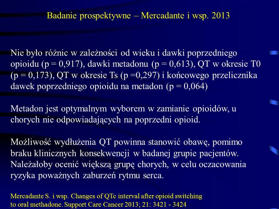 Nie było różnic w zależności od wieku i dawki poprzedniego opioidu (p = 0,917), dawki metadonu (p = 0,613), QT w okresie T0 (p = 0,173), QT w okresie Ts (p =0,297) i końcowego przelicznika dawek poprzedniego opioidu na metadon (p = 0,064) Metadon jest optymalnym wyborem w zamianie opioidów, u chorych nie odpowiadających na poprzedni opioid.