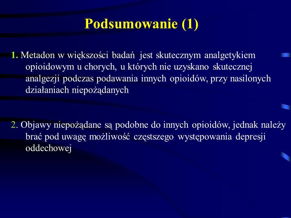 1. Metadon w większości badań jest skutecznym analgetykiem opioidowym u chorych, u których nie uzyskano skutecznej analgezji podczas podawania innych