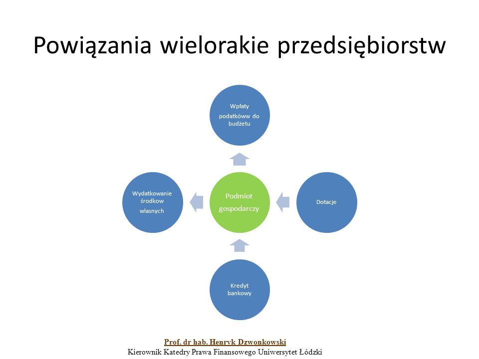 Powiązania wielorakie przedsiębiorstw Podmiot gospodarczy Wpłaty podatkóww do budżetu Dotacje Kredyt bankowy Wydatkowanie środkow wlasnych Prof. dr ha