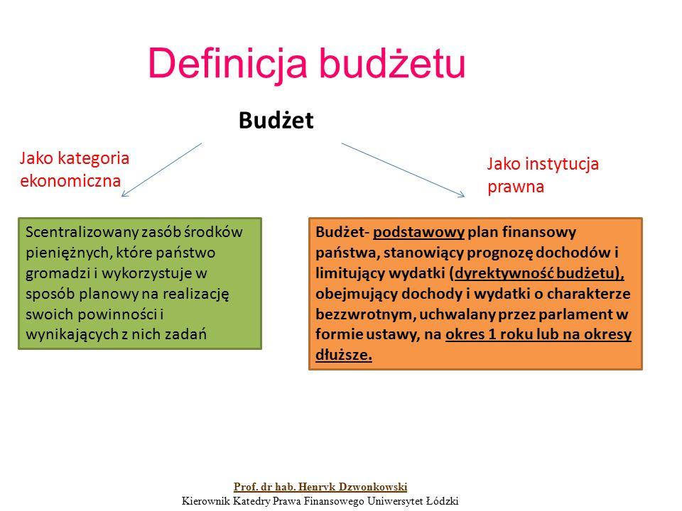 Definicja budżetu Budżet- podstawowy plan finansowy państwa, stanowiący prognozę dochodów i limitujący wydatki (dyrektywność budżetu), obejmujący dochody i wydatki o charakterze bezzwrotnym, uchwalany przez parlament w formie ustawy, na okres 1 roku lub na okresy dłuższe.