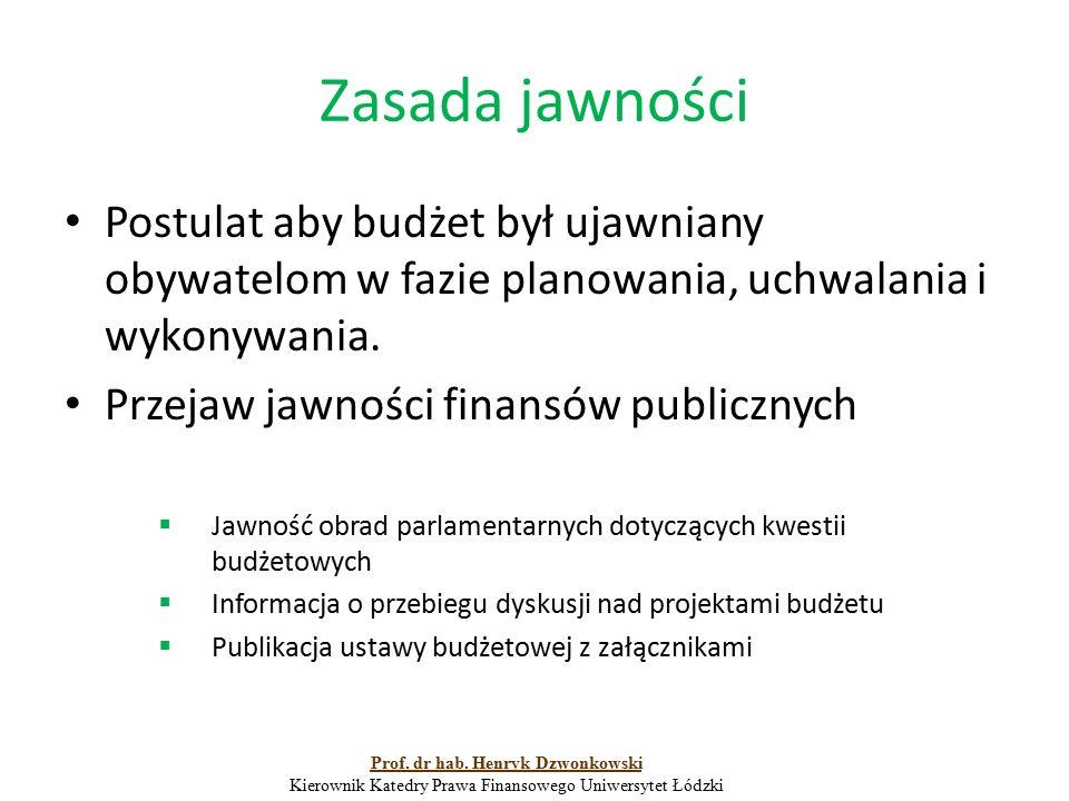 Zasada jawności Postulat aby budżet był ujawniany obywatelom w fazie planowania, uchwalania i wykonywania. Przejaw jawności finansów publicznych  Jaw