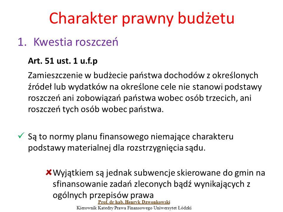 Charakter prawny budżetu 1.Kwestia roszczeń Art. 51 ust. 1 u.f.p Zamieszczenie w budżecie państwa dochodów z określonych źródeł lub wydatków na określ