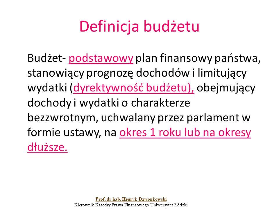 Definicja budżetu Budżet- podstawowy plan finansowy państwa, stanowiący prognozę dochodów i limitujący wydatki (dyrektywność budżetu), obejmujący doch