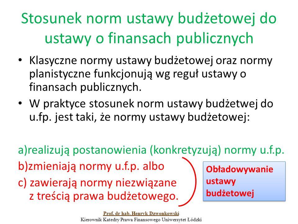 Stosunek norm ustawy budżetowej do ustawy o finansach publicznych Klasyczne normy ustawy budżetowej oraz normy planistyczne funkcjonują wg reguł ustaw