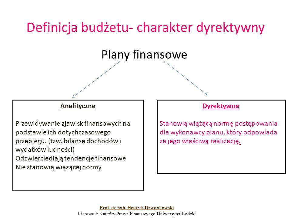 Definicja budżetu- charakter dyrektywny Plany finansowe Analityczne Przewidywanie zjawisk finansowych na podstawie ich dotychczasowego przebiegu. (tzw