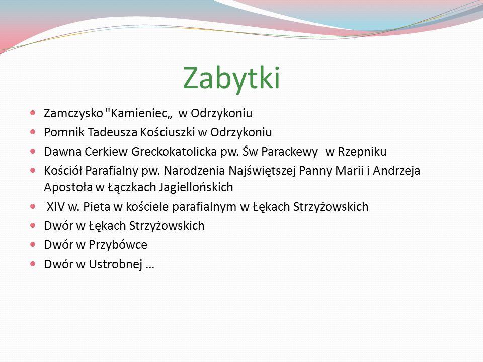 """Zabytki Zamczysko Kamieniec"""" w Odrzykoniu Pomnik Tadeusza Kościuszki w Odrzykoniu Dawna Cerkiew Greckokatolicka pw."""