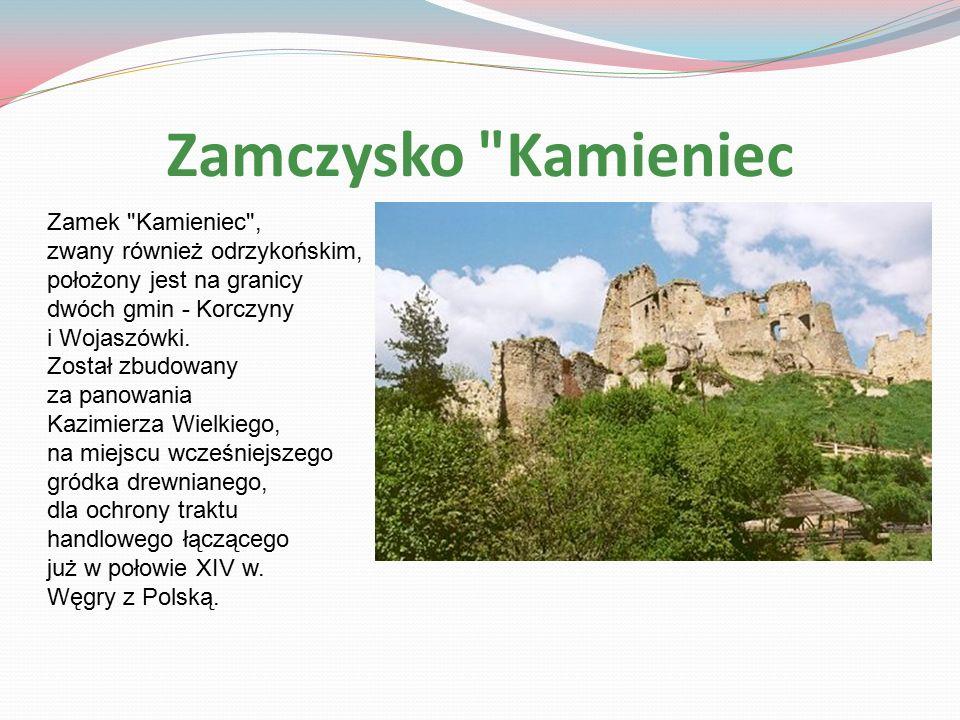 Zamczysko Kamieniec Zamek Kamieniec , zwany również odrzykońskim, położony jest na granicy dwóch gmin - Korczyny i Wojaszówki.