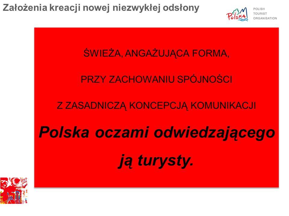 ŚWIEŻA, ANGAŻUJĄCA FORMA, PRZY ZACHOWANIU SPÓJNOŚCI Z ZASADNICZĄ KONCEPCJĄ KOMUNIKACJI Polska oczami odwiedzającego ją turysty. Założenia kreacji nowe