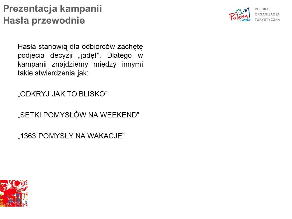 """Prezentacja kampanii Hasła przewodnie Hasła stanowią dla odbiorców zachętę podjęcia decyzji """"jadę! ."""