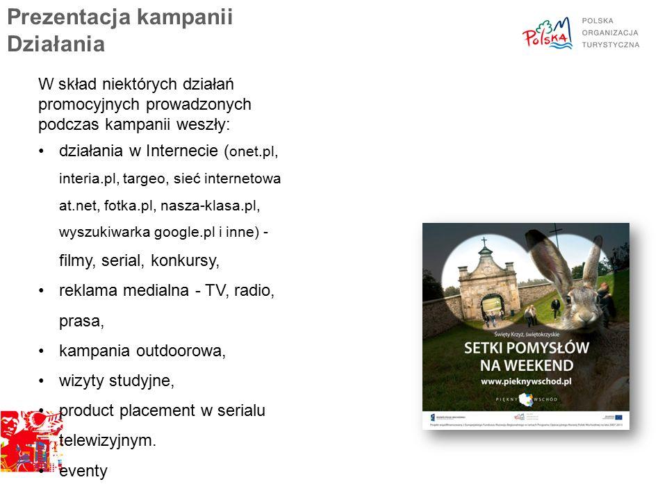 Prezentacja kampanii Działania W skład niektórych działań promocyjnych prowadzonych podczas kampanii weszły: działania w Internecie ( onet.pl, interia