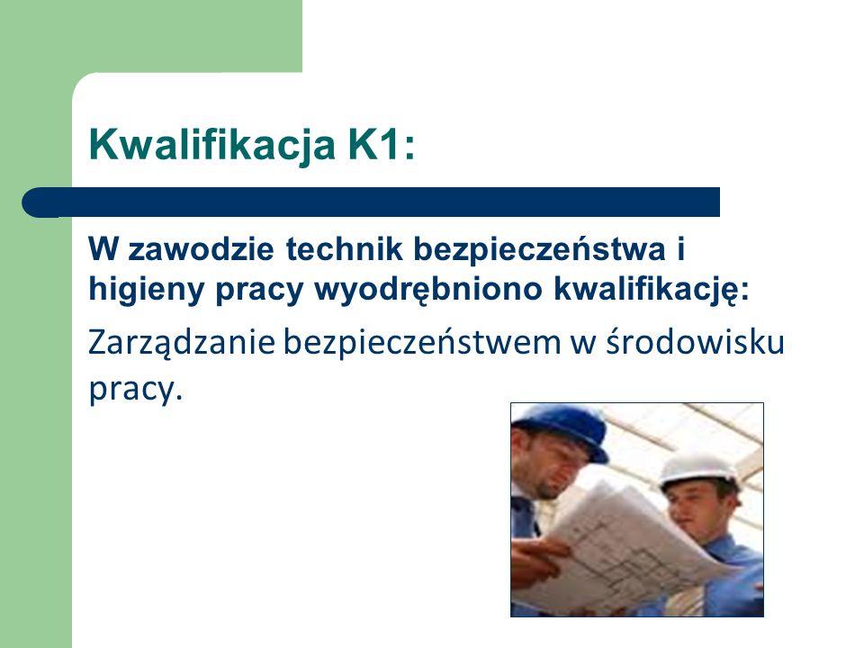 Kwalifikacja K1: W zawodzie technik bezpieczeństwa i higieny pracy wyodrębniono kwalifikację: Zarządzanie bezpieczeństwem w środowisku pracy.