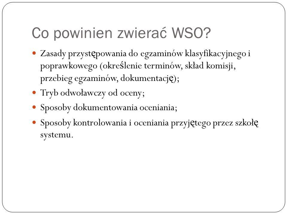 Co powinien zwierać WSO? Zasady przyst ę powania do egzaminów klasyfikacyjnego i poprawkowego (okre ś lenie terminów, skład komisji, przebieg egzaminó