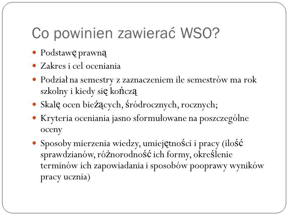 Co powinien zawierać WSO.