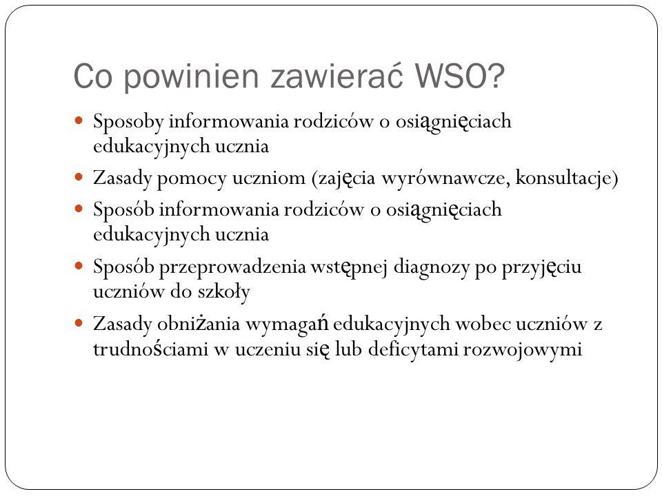 Co powinien zwierać WSO.