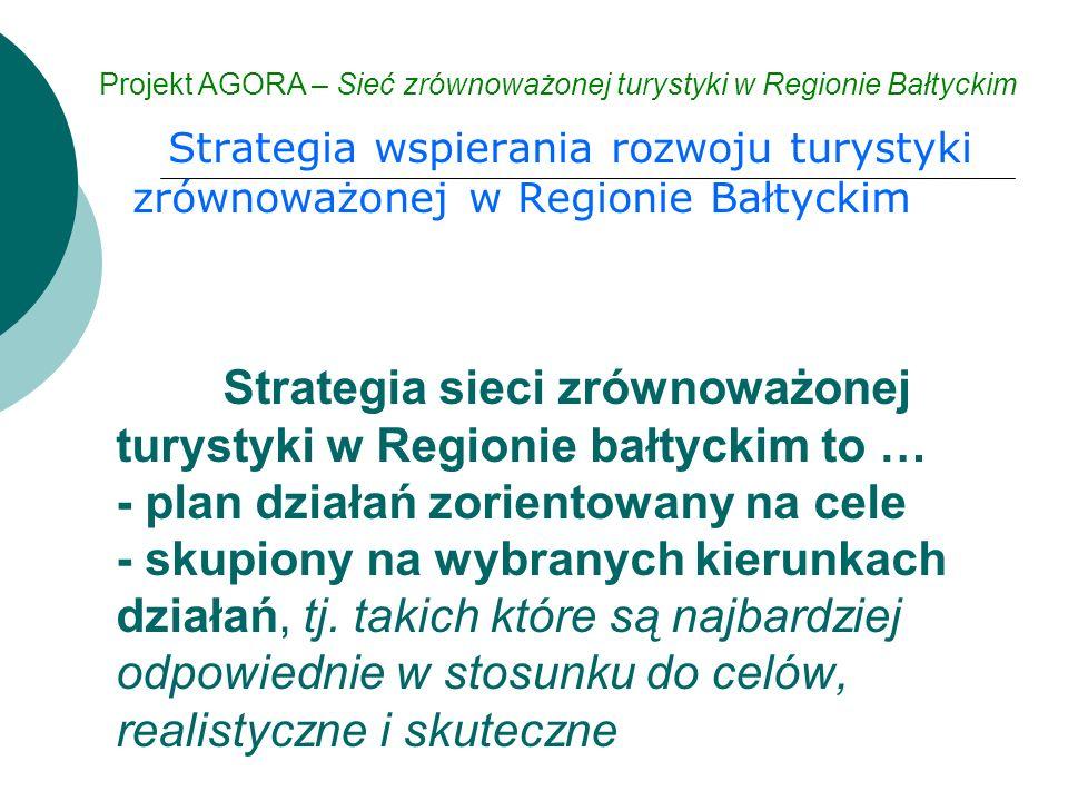 Strategia wspierania rozwoju turystyki zrównoważonej w Regionie Bałtyckim Projekt AGORA – Sieć zrównoważonej turystyki w Regionie Bałtyckim Strategia sieci zrównoważonej turystyki w Regionie bałtyckim to … - plan działań zorientowany na cele - skupiony na wybranych kierunkach działań, tj.