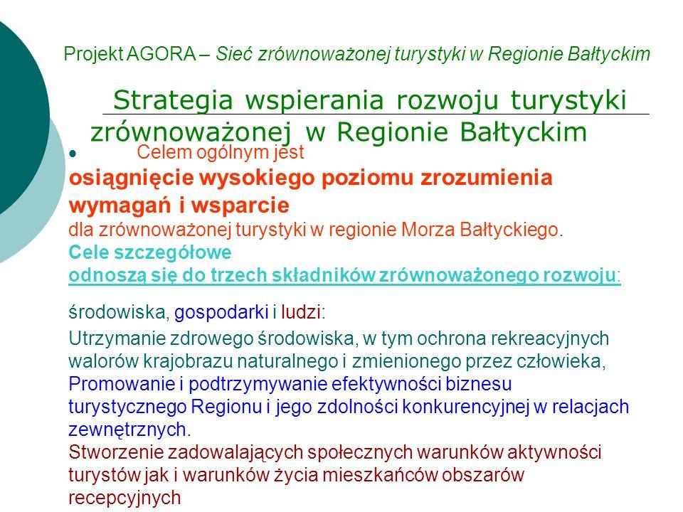 Strategia wspierania rozwoju turystyki zrównoważonej w Regionie Bałtyckim Projekt AGORA – Sieć zrównoważonej turystyki w Regionie Bałtyckim  Celem ogólnym jest osiągnięcie wysokiego poziomu zrozumienia wymagań i wsparcie dla zrównoważonej turystyki w regionie Morza Bałtyckiego.
