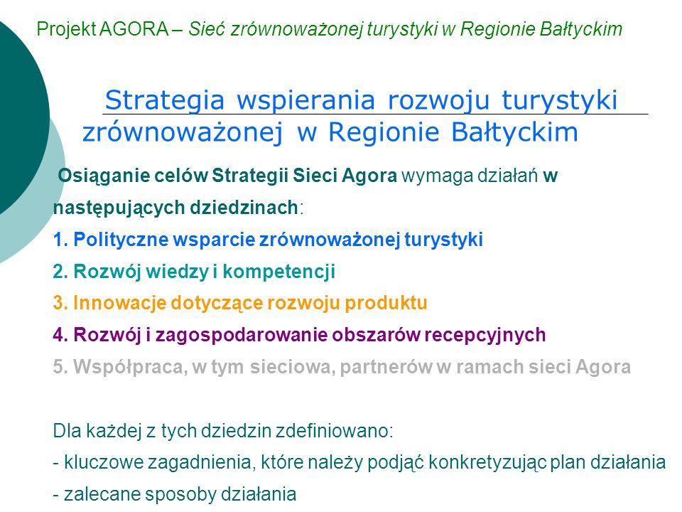 Strategia wspierania rozwoju turystyki zrównoważonej w Regionie Bałtyckim Projekt AGORA – Sieć zrównoważonej turystyki w Regionie Bałtyckim Osiąganie celów Strategii Sieci Agora wymaga działań w następujących dziedzinach: 1.
