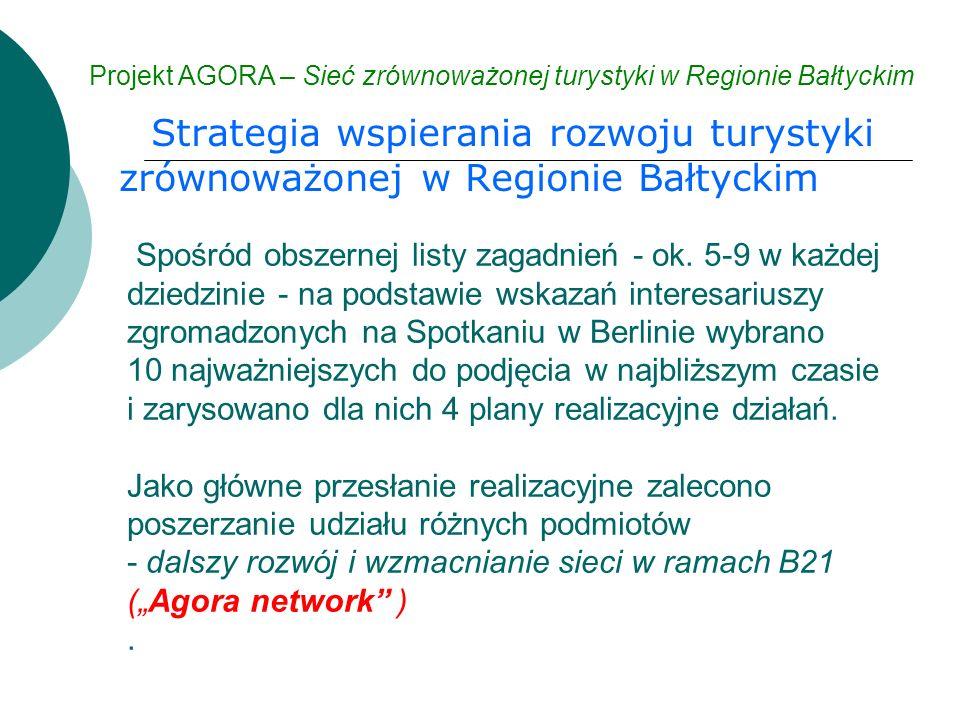 Strategia wspierania rozwoju turystyki zrównoważonej w Regionie Bałtyckim Projekt AGORA – Sieć zrównoważonej turystyki w Regionie Bałtyckim Spośród obszernej listy zagadnień - ok.