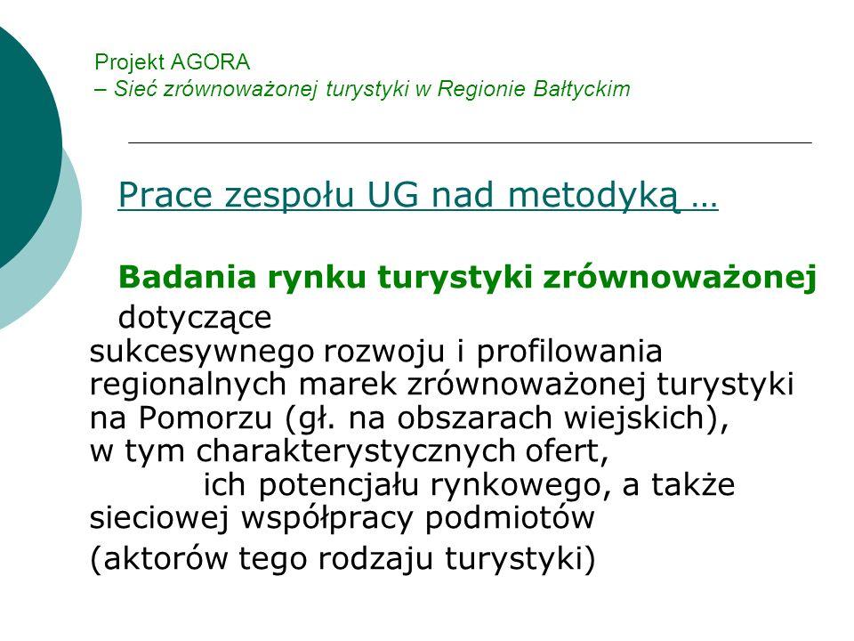Projekt AGORA – Sieć zrównoważonej turystyki w Regionie Bałtyckim Prace zespołu UG nad metodyką … Badania rynku turystyki zrównoważonej dotyczące sukcesywnego rozwoju i profilowania regionalnych marek zrównoważonej turystyki na Pomorzu (gł.