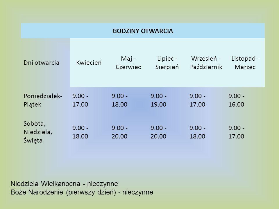 CENY BILETÓW (KWIECIEŃ - PAŹDZIERNIK) Normalny (poniedziałek - sobota) Normalny (niedziela, święta) 19 PLN 24 PLN Ulgowy (poniedziałek - sobota) Ulgowy (niedziela, święta) 15 PLN 20 PLN Dzieci do lat 4 - ur.