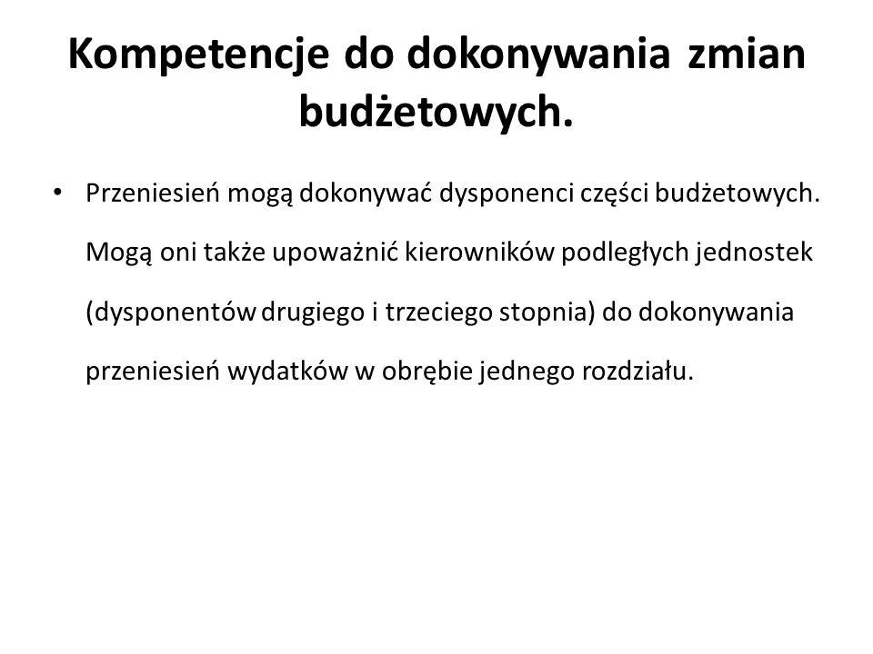 Kompetencje do dokonywania zmian budżetowych.