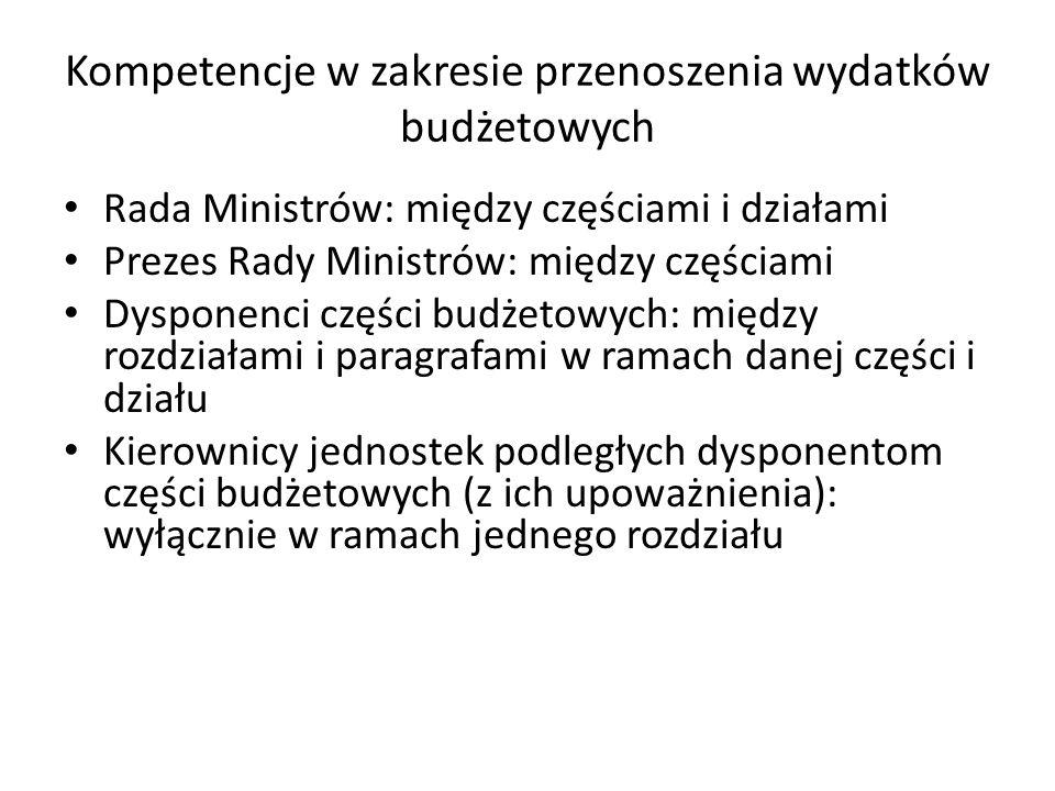 Kompetencje w zakresie przenoszenia wydatków budżetowych Rada Ministrów: między częściami i działami Prezes Rady Ministrów: między częściami Dysponenci części budżetowych: między rozdziałami i paragrafami w ramach danej części i działu Kierownicy jednostek podległych dysponentom części budżetowych (z ich upoważnienia): wyłącznie w ramach jednego rozdziału